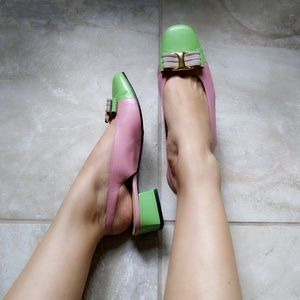 Vtg Pink Green Leather Bow Slingback Block Heels